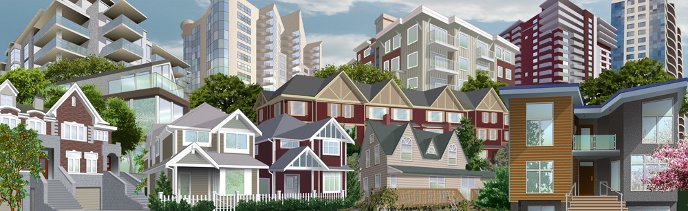Montage of houses from across Canada for CREA