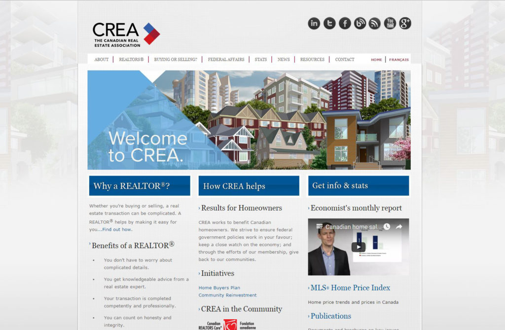 Montage of houses from across Canada for CREA website 2015-17
